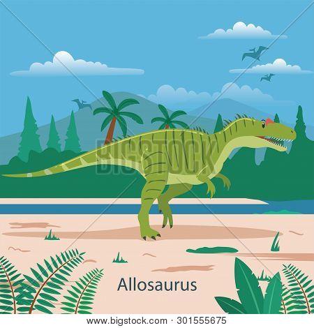 Illustration Of Allosaurus. Dinosaur Prehistoric Animal. Extinct Animals
