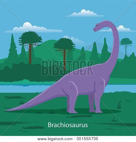 Illustration Of Brachiosaurus. Dinosaur Prehistoric Animal. Extinct Animals