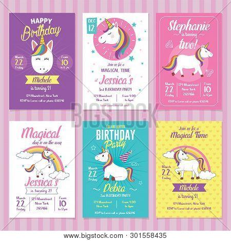 Set Of Unicorn Birthday Invitation Cards. Graphic Template