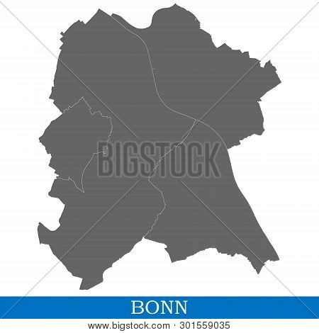 High Quality Map Of Bonn Is A City Of Germany, With Borders Of Districts