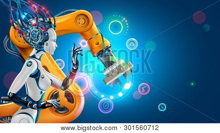 Artificial Intelligence Works Automation Industry Factory With Smart Robotic Arms. Robot Or Cyborg W