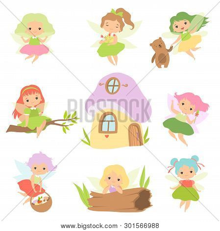 Cute Little Forest Fairies Set, Lovely Fairies Girls Cartoon Characters And Fairytale Fantasy House