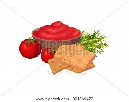 Rectangular Croutons With Sweet Peppers. Vector Illustration On White Background.