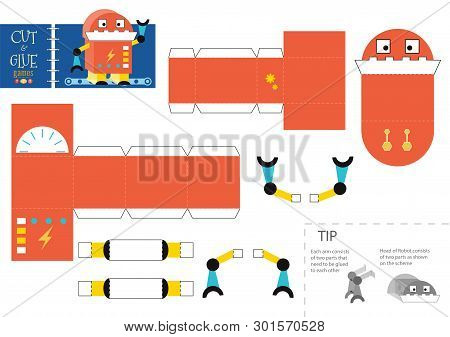 Cut and glue robot toy vector illustration, worksheet. Paper craft and diy riddle with funny cartoon robotic character for preschool kids. Cutout activity for children poster
