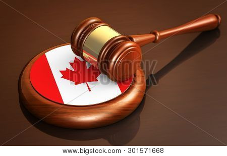 Canadian Law, Lawsuit And Justice Concept With A 3d Rendering Of A Judge Gavel And The Flag Of Canad