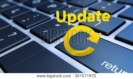 Update Computer Software And Online Data Conceptual 3d Illustration With Golden Sign And Icon On A L