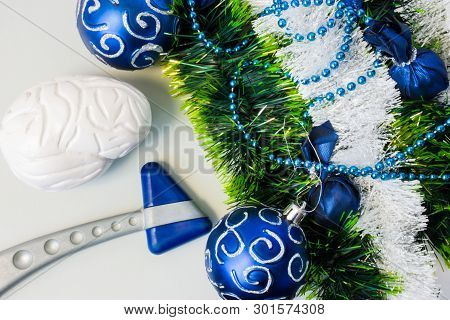 Neurology Or Neuroscience Christmas And New Year With Decorations. Neurological Rubber Reflex Hummer