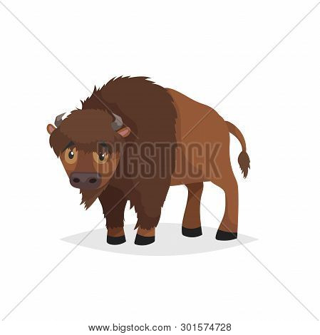 Cute Bison Standing. Cartoon Comic Style Vector Illustration Of Forest Wild Animal. Buffalo. Europe