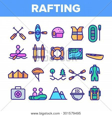 Rafting Trip, Sport Linear Vector Icons Set. Rafting, Kayaking Thin Line Contour Symbols Pack. Outdo