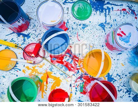 Abstract Background Of Paint And Paint, Art Studio Paints On The White With Paintings., Paints And W