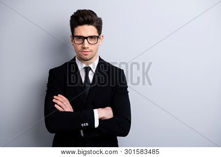 Portrait Of His He Nice-looking Imposing Representative Elegant Classy Chic Brainy Attractive Candid
