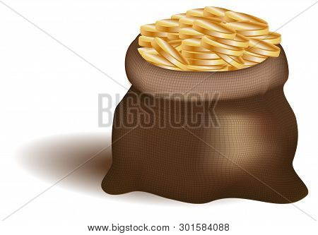 A Bag Full Of Gold. Concept Of Wealth, Accumulation, Bank Deposit, Inheritance, Stocks, Airbags