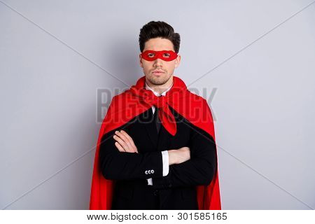 Portrait of his he nice attractive incognito best perfect great excellent ideal guy wearing bright superman look outfit mantle folded arms accessory isolated over light gray background poster
