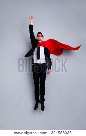 Full Length Body Size Photo Jumping High He His Him I Save World Expression Costume Flight Up Fist R