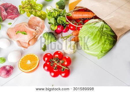 Healthy Food Shopping Concept, Balanced Diet Ingredient - Meat, Fish, Fruit, Vegetables. Fresh Foods