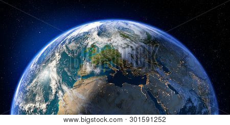 Planet Earth With Detailed Relief And Atmosphere. Day And Night. Europe, North Africa And Middle Eas
