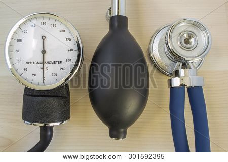 Stethoscope Or Phonendoscope, Mechanical Manometer To Measure The Blood Pressure And Bulb With Air V