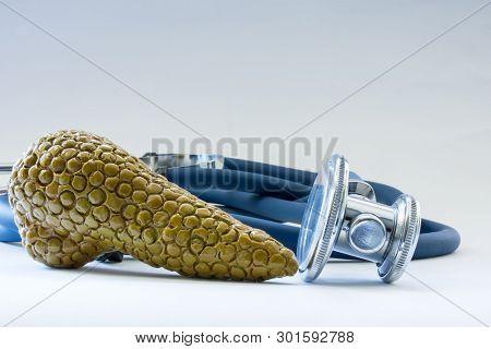 Pancreatic Gland Near Stethoscope As Symbol Of Health Of Organ, Care, Diagnostics, Medical Testing,