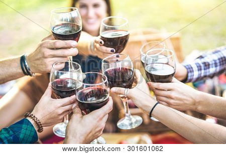 Hands Toasting Red Wine And Friends Having Fun Cheering At Winetasting Experience - Young People Enj