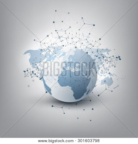 Abstract Cloud Computing And Global Network Connections Concept Design With Transparent Geometric Me