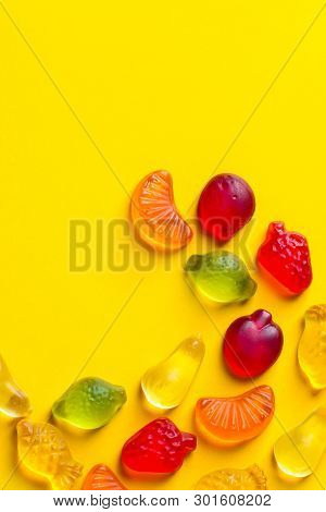 Creative Food Poster Banner Card Template. Gummy Jelly Candies In Shape Of Different Summer And Trop