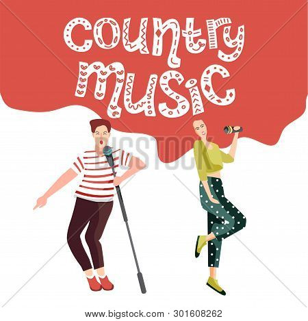 Singing And Dancing People At The Country Music Festival. Happy People With Microphones Sing Songs.
