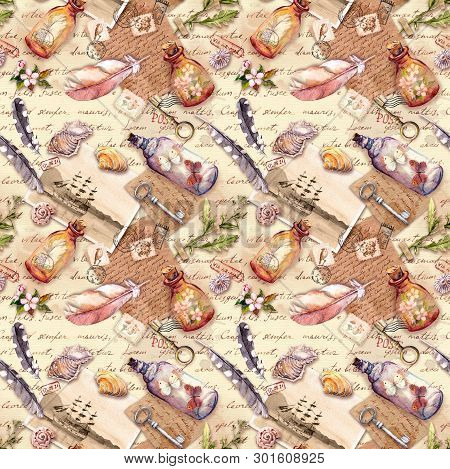 Vintage Background With Herbarium, Exploring Collection: Feathers, Sea Shells, Flowers, Glass Bottle