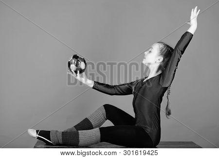 Rhythmic gymnastics sport combines elements ballet dance. Girl little gymnast sports leotard. Physical education and gymnastics. Flexible healthy body. Practicing gymnastics hard before performance poster