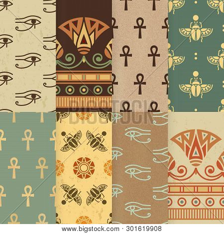 Set Of Eight Seamless Vector Illustration Of Egyptian National Ornament With A Lotus Flower, Eye Ra,