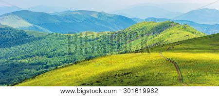 Mountain Panorama On Cloudy Summer Noon. Footpath Through Green Alpine Meadows. Beautiful Nature Lan