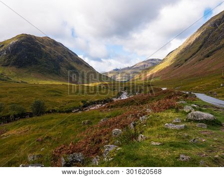 Wide View On Glen Etive And The River Etive In The Highlands Of Scotland