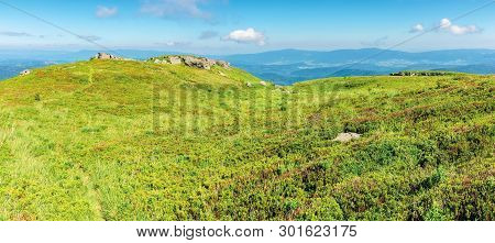 Panoramic Mountain Landscape In Summertime. Green Grassy Hills With Bunch Of Rocks In The Distance.