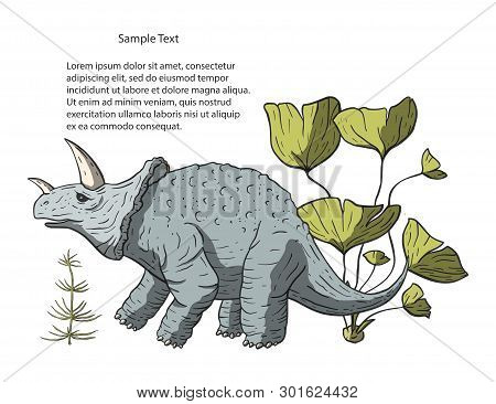 Dinosaur Triceratops In Its Habitat. Jurassic And Cretaceous Animal. Prehistoric Vector Dino.