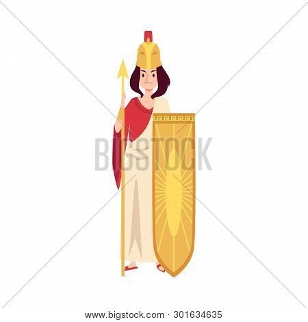 Woman Or Athena Greek Goddess Stands Holding Spear And Shield Cartoon Style