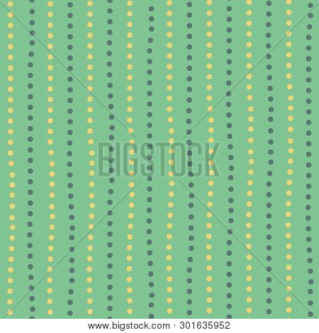 Modern Yellow And Green Hand Drawn Dotted Random Vertical Lines. Seamless Geometric Pattern On Mint