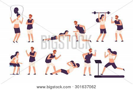 Fitness Trainer. Male Personal Coach Helps Woman Training, Fit Girl Exercising With Gym Instructor I
