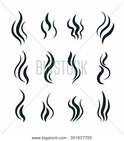 Smell Symbols. Heating Pictograms, Cooking Steam Warm Aroma Smells Stinks Mark, Steaming Vapour Smok