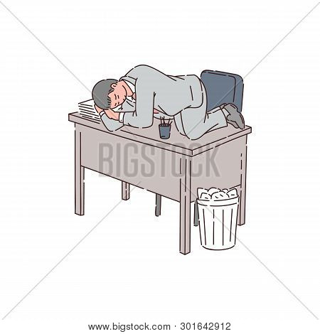 A Tired Man Is An Office Worker Or Businessman Sleeping On An Office Table Because Of Insomnia.