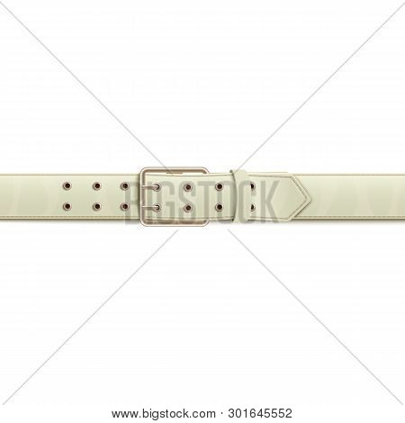 White Belt Or Waistband Realistic Vector Illustration Isolated On Background.