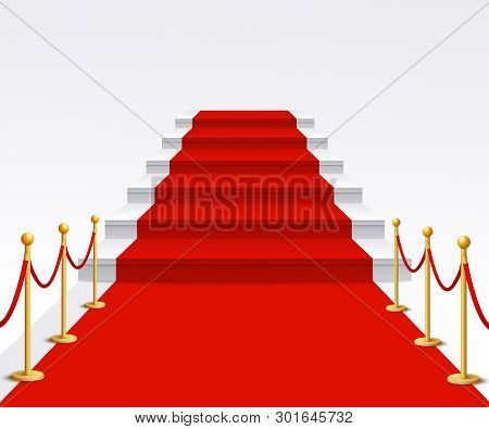 Luxury Red Carpet Staircase Background, Success And Fame Walk For Vip Gala Celebration Event