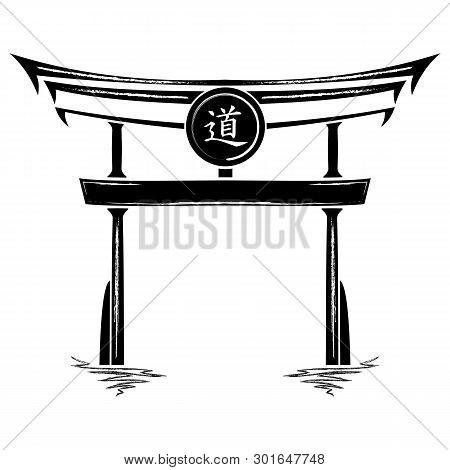 Japan Gate Torii Silhouette Isolated On White Background. Vector Japanese Gates Symbols For Logo. Ve