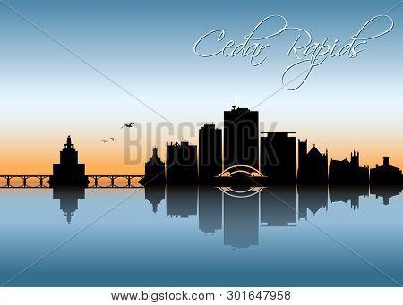 Cedar Rapids Skyline - Iowa - United States Of America, Usa - Vector Illustration - Vector