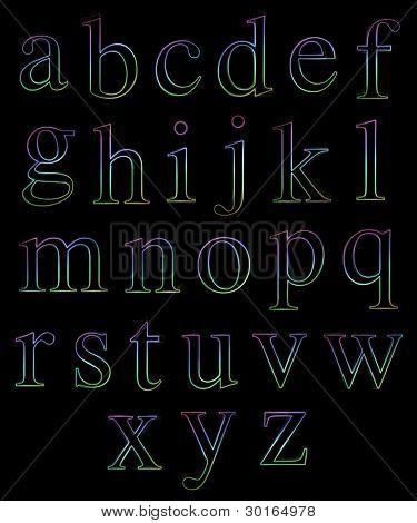 Neon Lowercase Alphabets