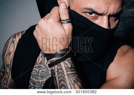 Fashion Industry. Muscular Athletic Sexy Male With Tattoos. Confident And Handsome Brutal Man. Male