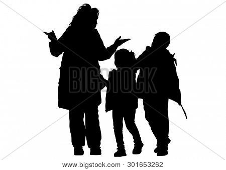 Families with little child on white background