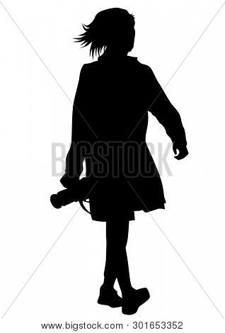 Women with photo camera on white background