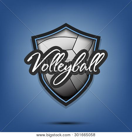 Volleyball Logo Design Template. Volleyball Emblem Pattern. Volleyball Ball And Shield With Vintage