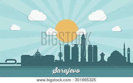 Sarajevo skyline - flat design - vector illustration - Vector poster