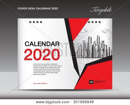Cover Desk Calendar 2020 Design, Flyer Template, Ads, Booklet, Catalog, Newsletter, Book Cover, Annu
