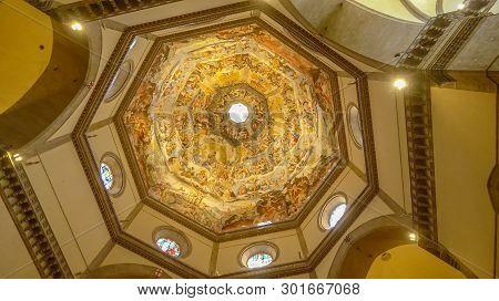 Florence, Italy - November 8th: Ornately Painted Dome Of Florence Cathedral In Florence, Italy On No